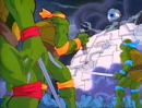 TMNT facing the Technodrome