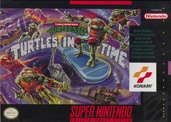 TMNT Turtles in Time SNES Cover Art