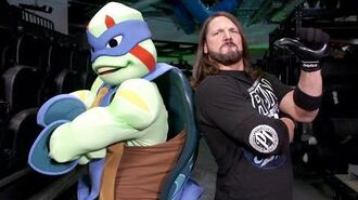 AJ Styles shows Leonardo and Donatello how to make an entrance