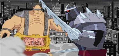 Krang and Ch'rel Shredder fight