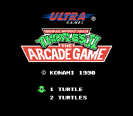 TMNT II The Arcade Game Title Screen NES
