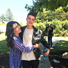 Jenny Han and Israel Broussard on the TATBILB set