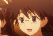 Spiky-haired glasses girl