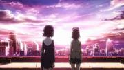 Shinobu y un clon viendo el horizonte