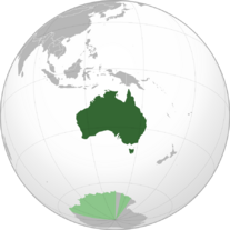 Australia with AAT (orthographic projection)