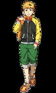 Diseño frontal de Hide en el anime.
