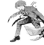Kanae uses kagune to suppress Shuu