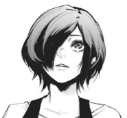 Touka watching Takatsuki's press conference