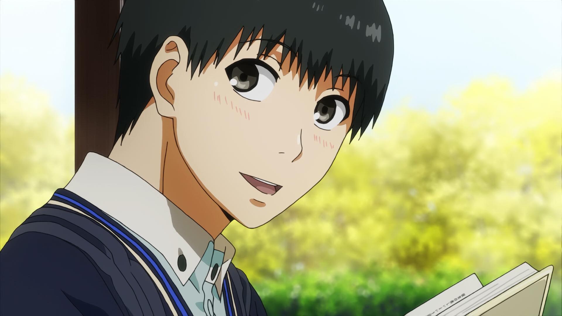 Kaneki noticing that Rize reads the same novel