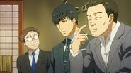Nakajima, Amon and Kusaba eating together after work