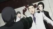 Furuta using Okahira as a meat shield re anime