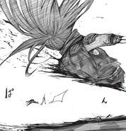 Kurona sliced in half by Juuzou's strike
