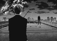 Shuu encounters Haise rooftop