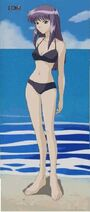 Zakuro wearing a Swimsuit at the beach.