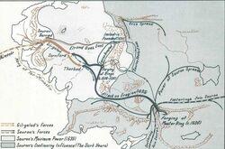 War between Sauron and Elves map