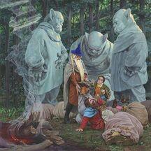 Gandalf e Bilbo liberano i nani, by Denis Gordeev