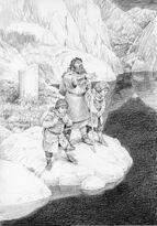 Gimli, Frodo e Sam sul Mirolago