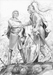 Éomer e Aragorn nel Pelennor by Denis Gordeev