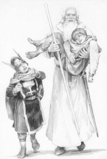 Pipino e Gandalf aiutano Merry by Denis Gordeev