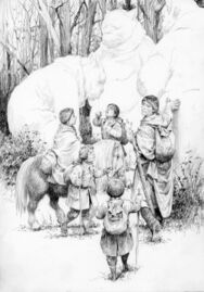Aragorn e gli Hobbit presso i troll by Denis Gordeev