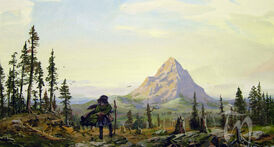 Thrain Discovers the Lonely Mountain by Ted Nasmith