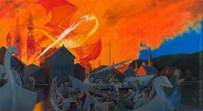 The Hobbit Esgaroth refugees by Eugene Arenhaus