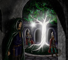 Isildur and the fruit of Nimloth by MirachRavaia