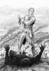 Isildur prende l'Anello a Sauron by Denis Gordeev