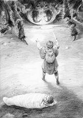 Sam vs Shelob by Denis Gordeev