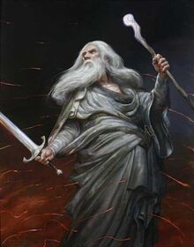 Gandalf con Glamdring e il suo bastone