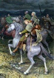 Legolas, Gimli e Aragorn con la Grigia Compagnia by Denis Gordeev
