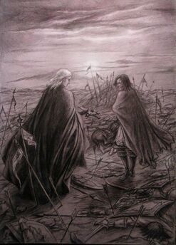 Morgoth e Húrin sulla Collina delle Lacrime