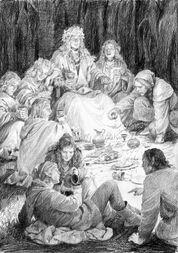 Thranduil e altri Elfi in festa by Denis Gordeev