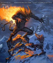 Gandalf and the Balrog Upon Celebdil by Ted Nasmith
