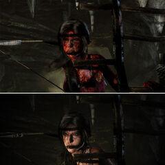 Comparación en una escena (fíjese que en esta versión Lara tiene menos sangre)