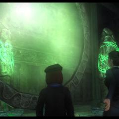 Amelia frente al portal