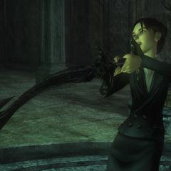 Amelia quita la espada del pedestal