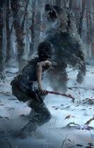 Rise of the Tomb Raider - Artwork - Lara - Bär