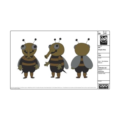 Model sheet for Sara in her mascot costume.