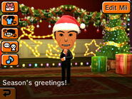 Mii greeting the player during Christmas time