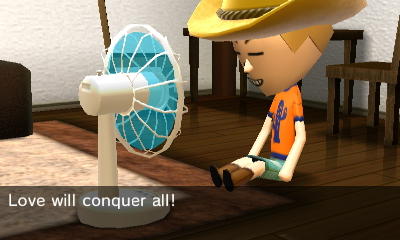 Mii using fan and saying random things