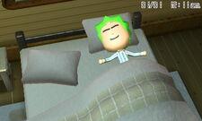 A mii sleeping at home alone