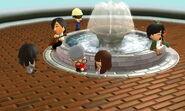 Lots of Miis at the fountain visiting