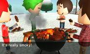 Waving smoke away
