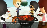 Len barbecuing with others