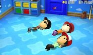 Three Miis doing situps
