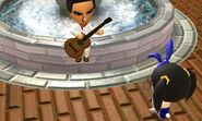 Mii playing guitar at fountain