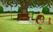 A child running around in the park