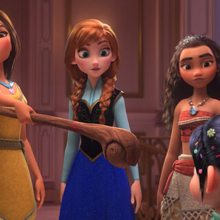 Scene with Anna, Elsa, Cinderella, Moana and Pocahontas