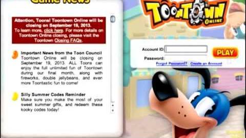 Toontown Closing Livestream Announcment
